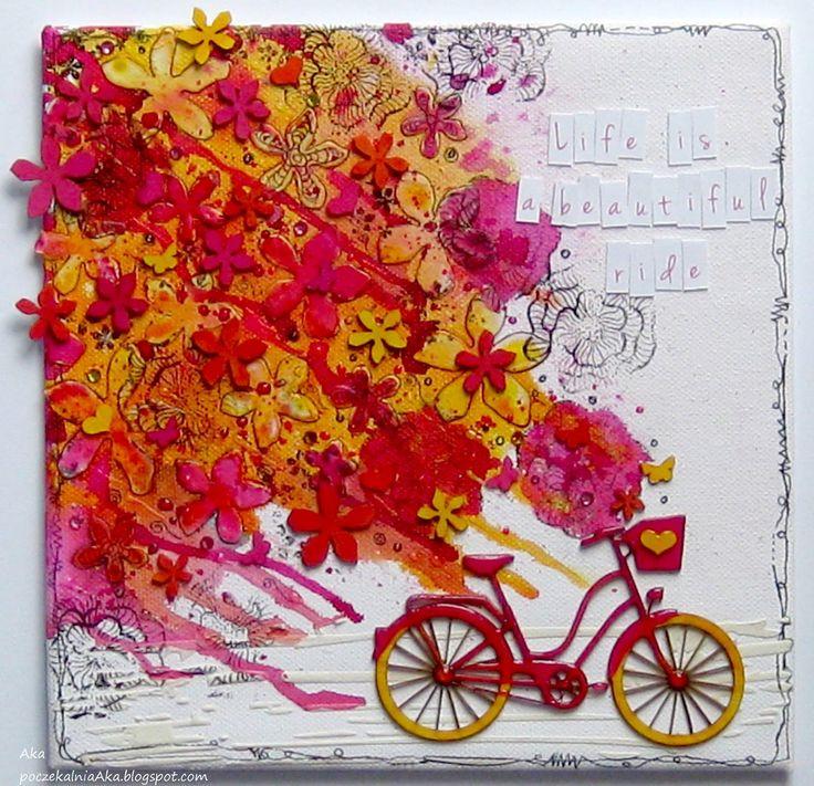 #life #bicycle #canvas #3rdEyecraf.com #stencil #stamp #chipboards