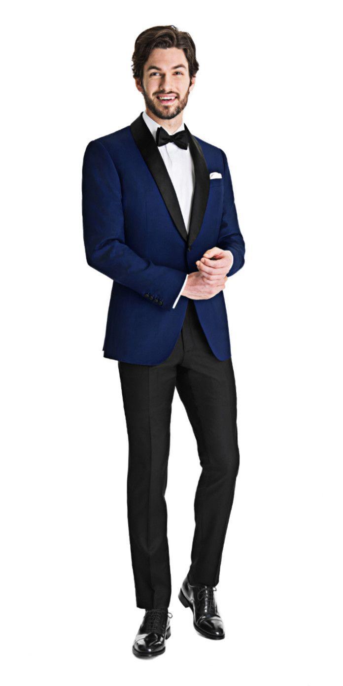 Royal Blue Dinner Jacket with Black Tuxedo Pants   Black Lapel