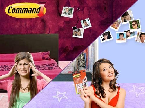 Cambia de intereses sin dañar tus paredes con Command®    Tener nuevos artistas favoritos o cambiar las fotos de tus novios ya no será difícil con tiras Command®.