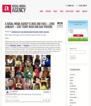 AGENCY  http://www.asocialmediaagency.com/blog/2014/01/social-media-agencys-likes-fails-22nd-january-lost-teddy-bear-sad-youtube/