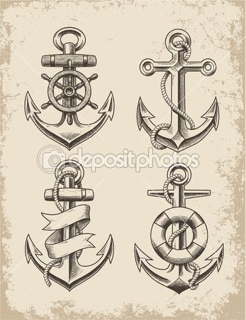 Hand Drawn Anchor Set — Stock Illustration #44111073
