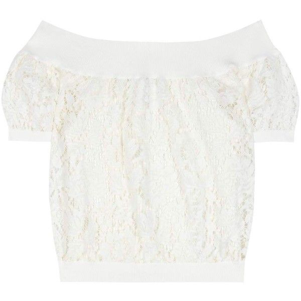 Valentino Lace Off-the-Shoulder Top (20.446.490 IDR) ❤ liked on Polyvore featuring tops, blouses, white, off the shoulder blouse, white off shoulder blouse, valentino blouse, lacy blouses and white off shoulder top