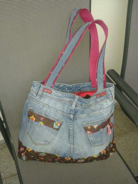 Tasche Jeans-upcycling Rückseite