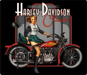 Harley Davidson Sign Classic Pin Up Babe Ande Rooney Harley Davidson Tin Sign Collection utilizes lithographed on tin process, this makes for a more detailed and inticate sign. The result is a reprodu