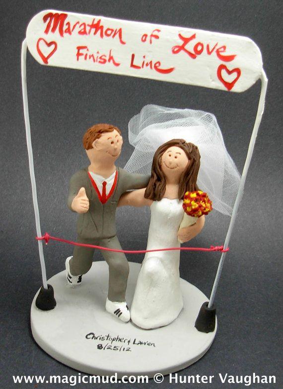 Marathon Runner's Wedding Cake Topper    Marathon Runner's Wedding Cake Topper custom created for you! Perfect for marriage of a Marathon Running Groom and his Bride!    $235   #magicmud   1 800 231 9814   www.magicmud.com