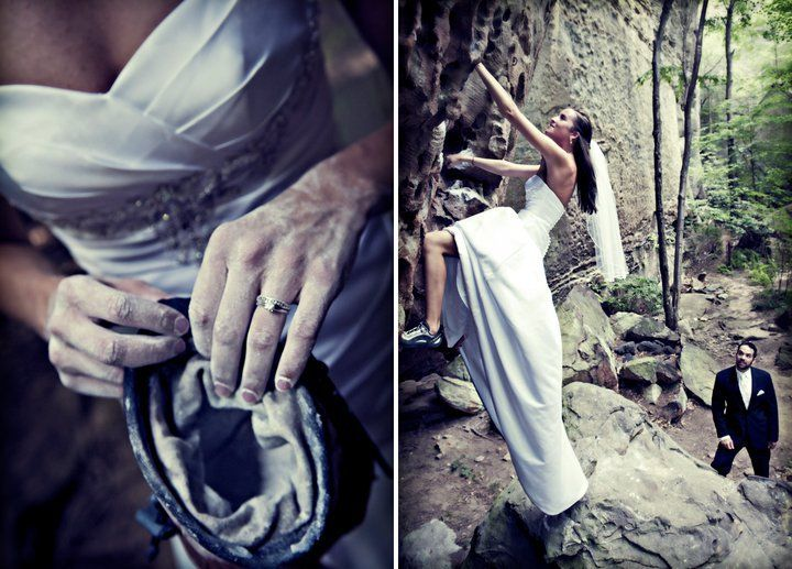 rock climbing wedding - i wish there was a way to make this look cool but it's so awkward..... so so awkward.
