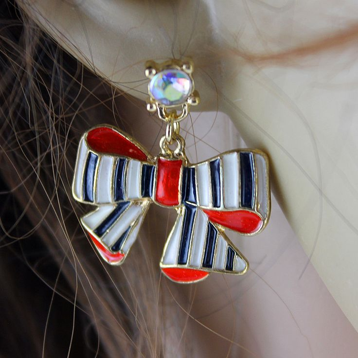 XQ Free shipping 2015 The new BJ blue and white striped Bow Earrings The new popular banquet texture