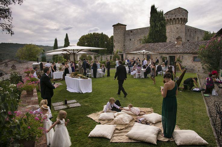 Cocktail hour in the herb garden Castello di Meleto Tonino da Cortona catering David Bastianoni photographer