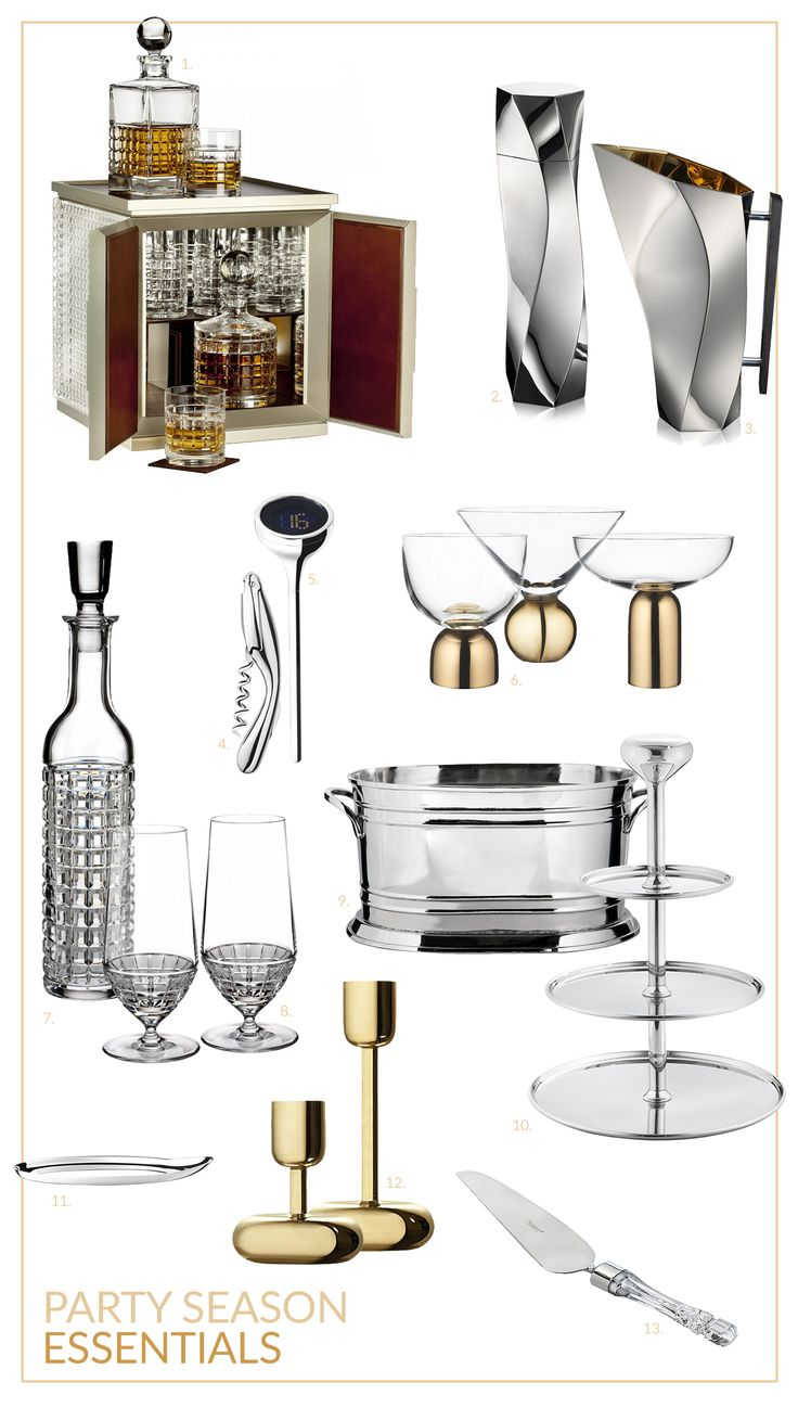 Party Season essentials 2016. Luxury party ware, crystal glasses, candle sticks and bar accessories perfect for hosting and entertaining at parties. Featured on Martyn White Designs