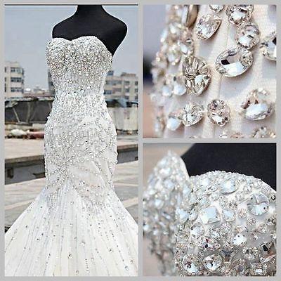 New-White-Ivory-Mermaid-Bridal-Gown-Wedding-Dress-Custom-Size-6-8-10-12-14-16-18