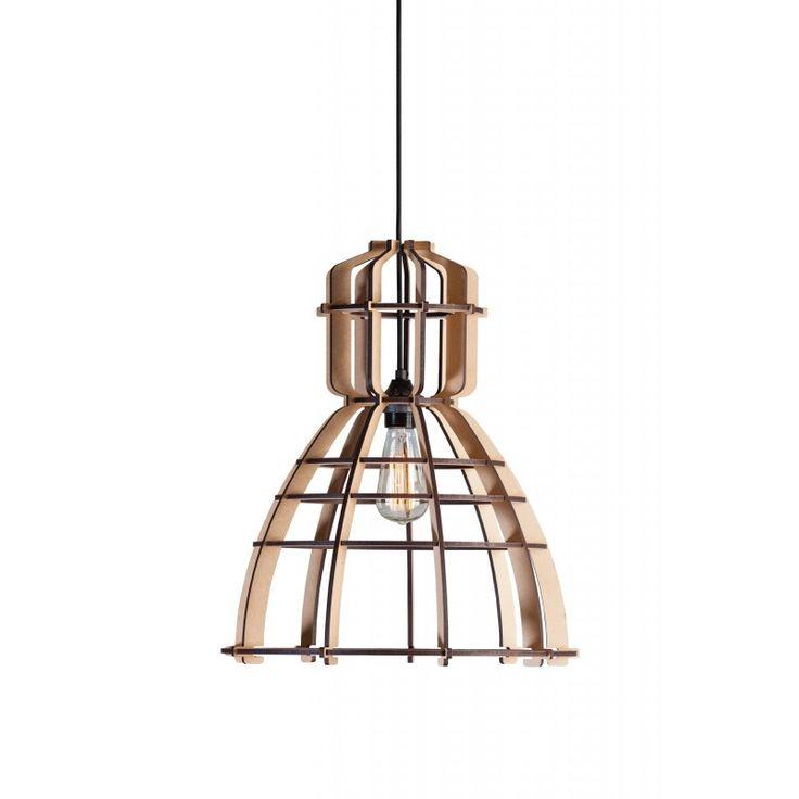 Voor Het Lichtlab ontworpen door Olaf Weller de NO 19 Industrielamp! Een Bouwpakket van volledig uit laser gesneden MDF Ribben. Leuk met gloei- of kooldraadlamp