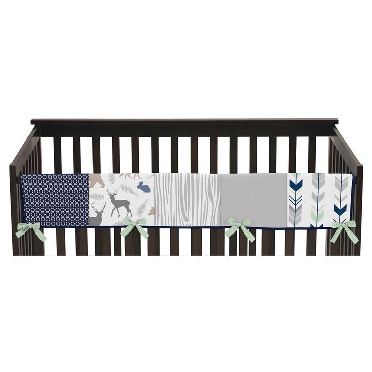 Sweet Jojo Designs Front Crib Rail Guard Cover - Navy & Mint Woodsy