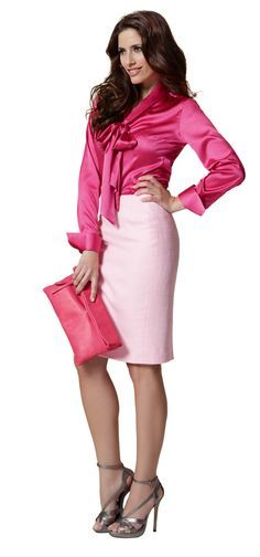 Light Pink Pencil Skirt Pink Satin Blouse and Silver Ankle Strap High Heels