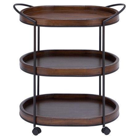 3-tier wood serving cart with casters.    Product: Serving cartConstruction Material: Metal and wood
