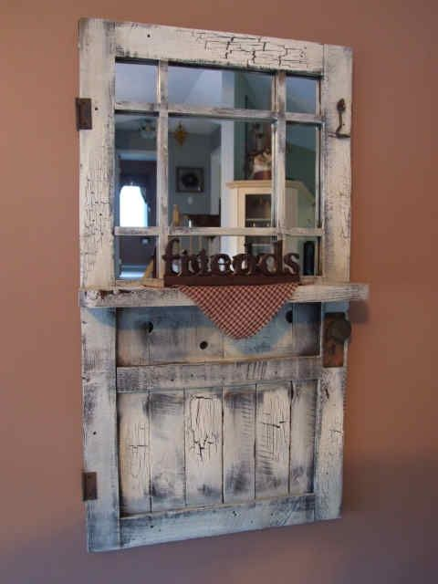 Mirrors+Made+From+Old+Windows | beautiful old window and door made into a mirror...