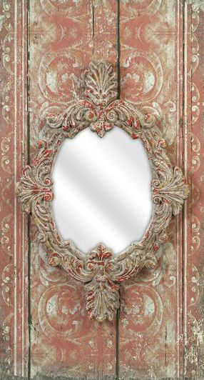 pink and beige wall mirror
