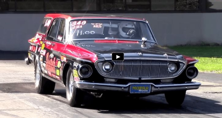Watch this old school all motor Mopar wagon screaming down the race track at Chrysler Power Classic.