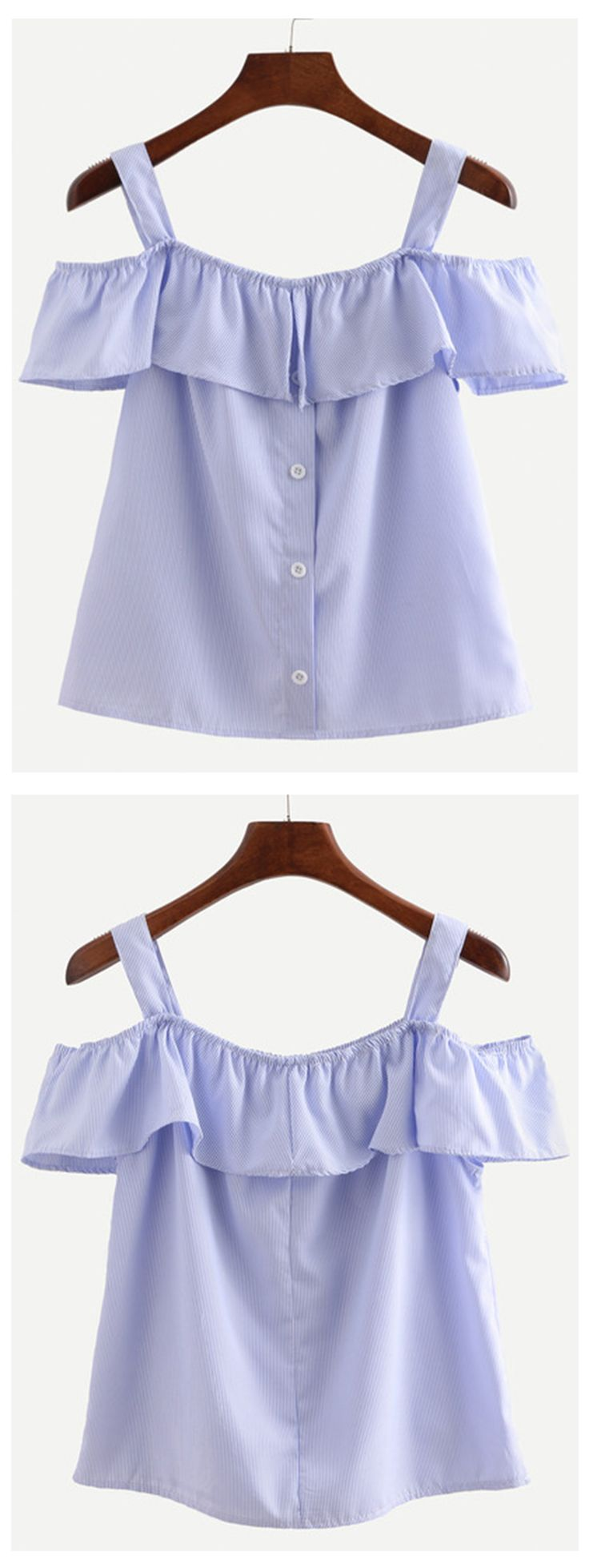 Blue Straps Vertical Striped Ruffle Shirt. Cute ruffle peasant blouse trendy this year. Fantastic for summer beach. Also fashion for street casual look!