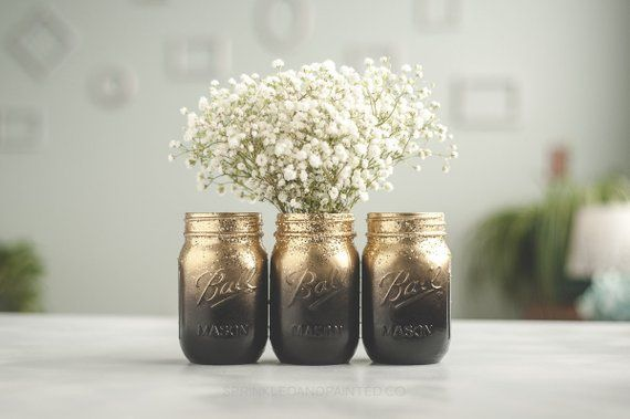 Set Of 3 New Years Eve Decor Black And Gold Vases Glitter Mason