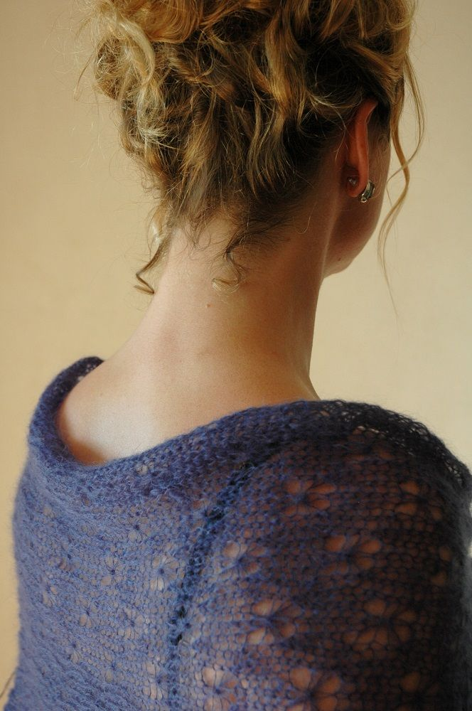 Navy mohair lace shawl