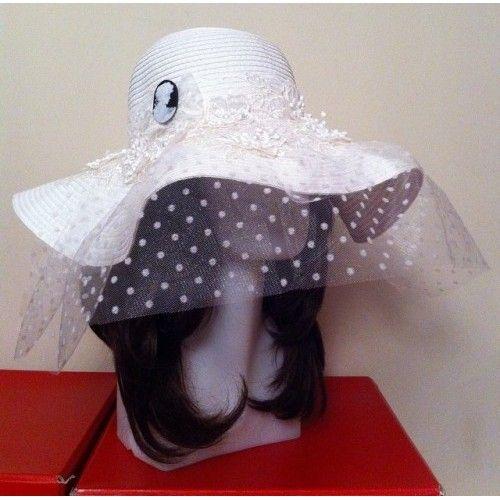 Nikah Şapkası, Kırık Beyaz Hasır, Tam Siperlik, Cameo