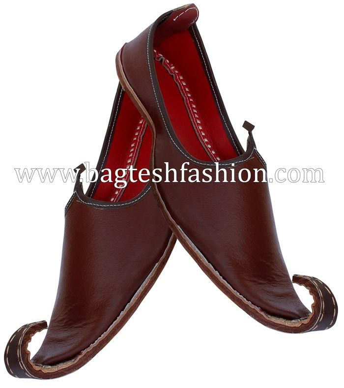1e6727edaf1f6 Men's Brown Rajasthani Leather Mojari Shoes | Indian wedding jutti ...