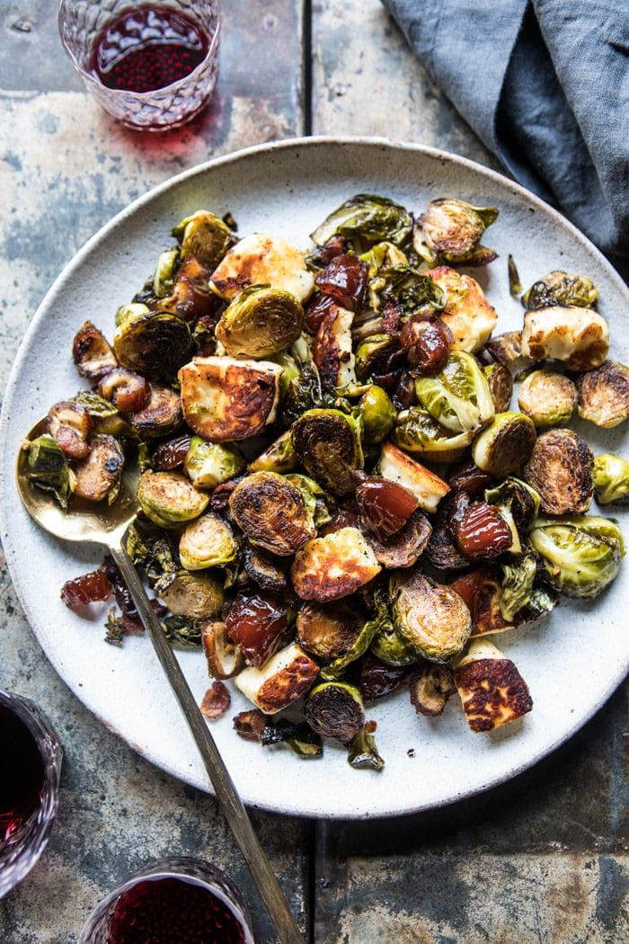 Kicking off the start of the Thanksgiving side dishes with these Pan Roasted Brussels Sprouts with Bacon, Dates, and Hallaoumi. The post Pan Roasted Brussels Sprouts with Bacon, Dates and Halloumi. ap