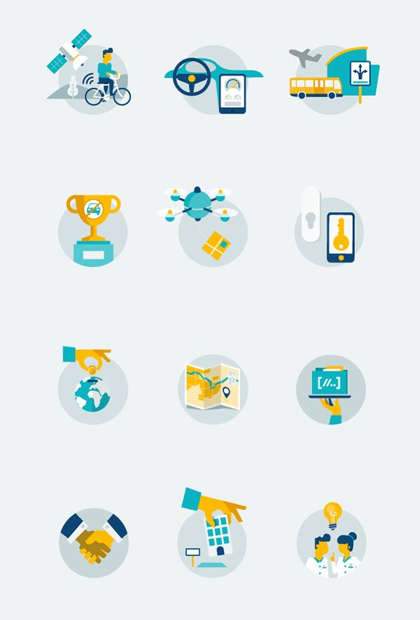 PON Infographic on Behance sweet icon set, good colors, out of frame wheee