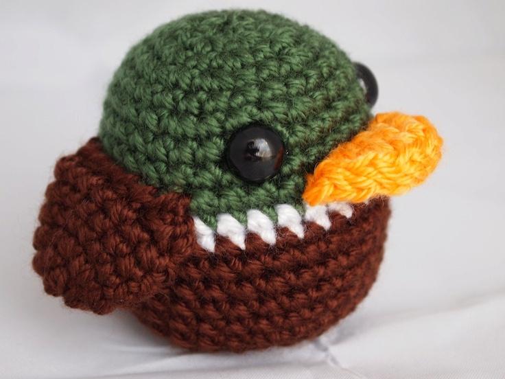 Crochet Amigurumi Baby Mallard Duck Crinkle Rattle Toy-Great for a baby shower diaper cake topper, boy, hunter or outdoorsman. $14.00, via Etsy.