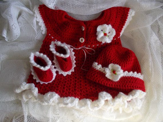 Crocheted Baby Girl's Sweater Red Baby Sweater, Valentines Baby Dress Hat Shoes TillieLuvsTreasures