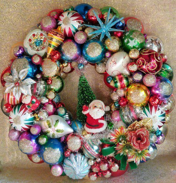 Christmas Ornament Wreath Kitschy Christmas Shiny Brite Etsy Vintage Christmas Ornaments Christmas Wreaths Christmas Ornament Wreath