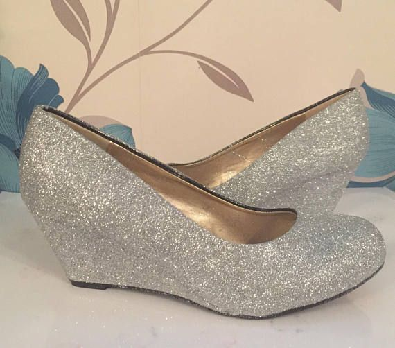 Silver Glitter Wedges Silver Bridal Shoes Bridesmaid Bridalshoes Silver Bridal Shoes Wedge Wedding Shoes Silver Wedding Shoes