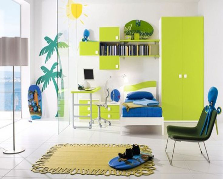 Cheerful Kids Bedroom Decorating Idea For Boys With White Bed Frame And  Blue Bedding And Lime Part 60