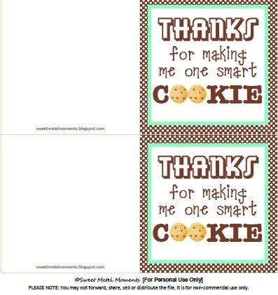 25 unique smart cookie printable ideas on pinterest smart sweet metel moments free printable teacher appreciation one smart cookie negle Images