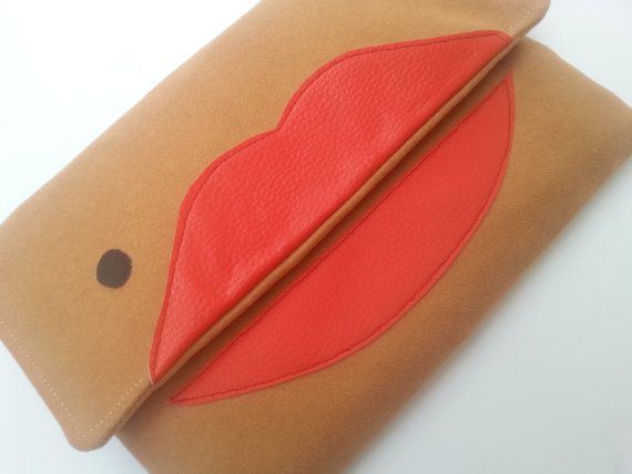 Envelope clutch, lips clutch purse, kiss, glamour, fashion bags, camel color Etsy https://www.etsy.com/listing/250655241/camel-clutch-bag-lips-clutch-purse