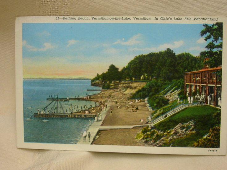 Vintage 1945 Vermillion Ohio Postcard Lake Erie Vacationland Bathing Beach