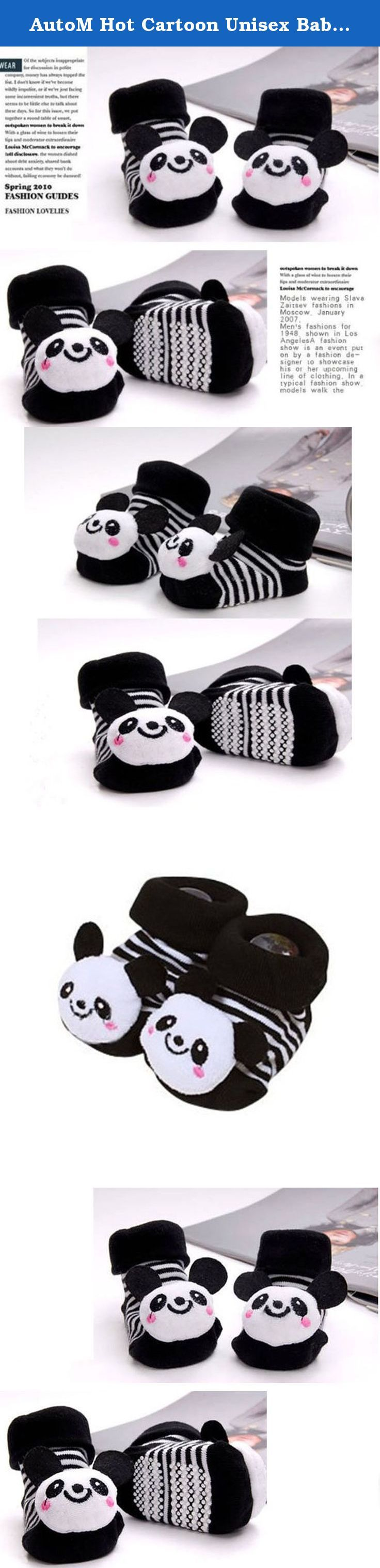 AutoM Hot Cartoon Unisex Baby Girl Boy Anti-slip Socks Slipper Shoes Boots 0-12 Month (Black White Panda). 1. Condition: New Arrival with High Quality 2. Style: Lovely style with Pretty Color 3. Suit for: Baby Boy Girl 4. Design: as Picture Show 5. Material: 85% Cotton+15% Polyester+5% Spandex 6. Size: One Size(Buttom Length: 10CM / 3.9inch) 7. Fit for 0-12 Month Baby, Foot Length about 7-9CM (2.76-3.54inch) 8. Sock Buttom with Small Anti-Skidding Granule 9. Cartoon Picture is Stick on it...