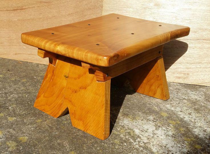 Small Wooden Footstool Made From English Macrocarpa Wood