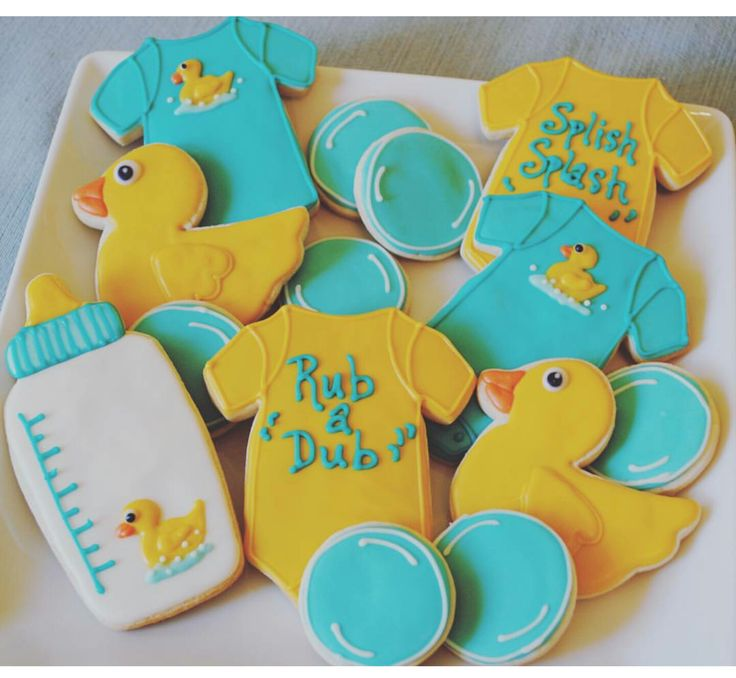 Rubber ducky baby shower cookies More