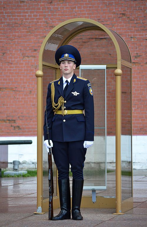 A private of the Kremlin Regiment at the Tomb of the Unknown Soldier in Alexander Garden, Moscow, Russia. Photo by Dmitry Ivanov. 2014. #military #uniform