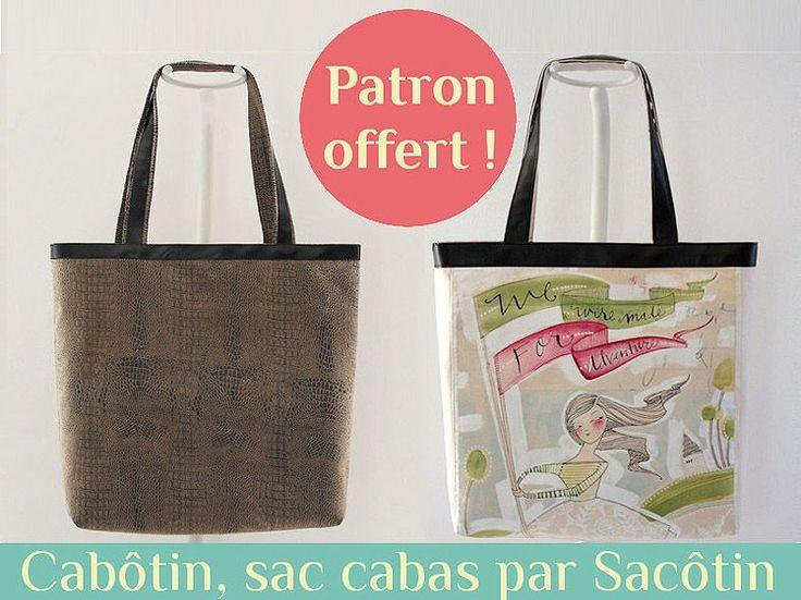 Patron cabas gratuit par Sacôtin. Patron sac cabas gratuit, versatile et facile à personnaliser. L'intérieur du sac est soigné et organisé avec 2 poches.