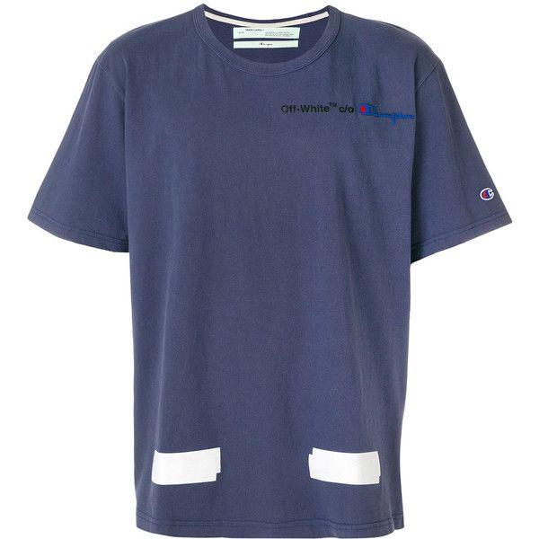 Off White Off White X Champion Arrows T Shirt 240 Via Polyvore Featuring Men S Fashion Men S Clot Slim Fit Mens Shirts Arrow T Shirt Mens White Dress Shirt