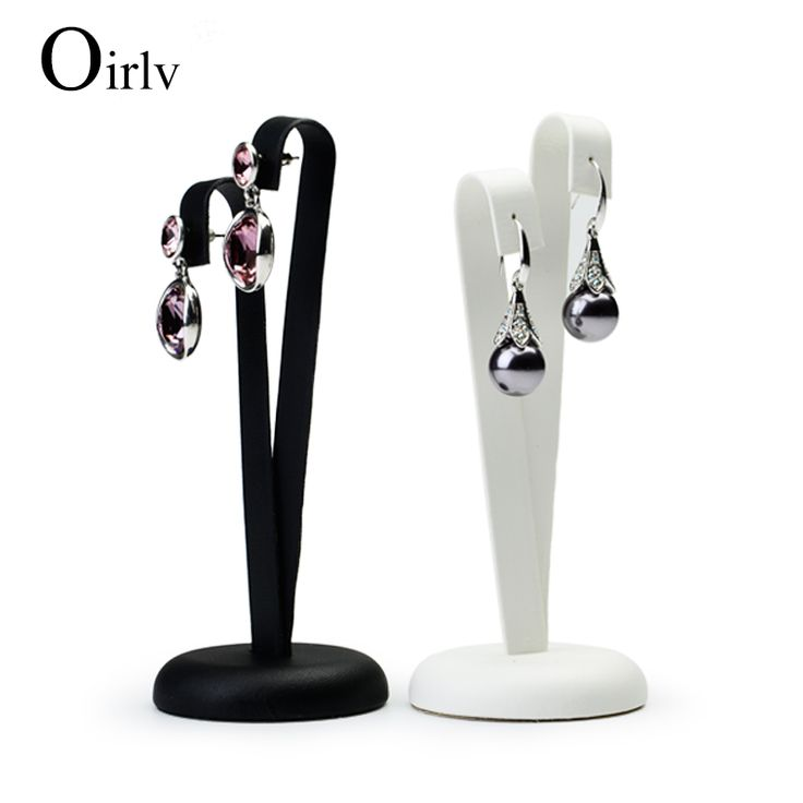 Oirlv Free Shipping Retail Dangling Ear Stud Display Stands Rack White Black PU Leather Earring Display Stand For Jewelry Store