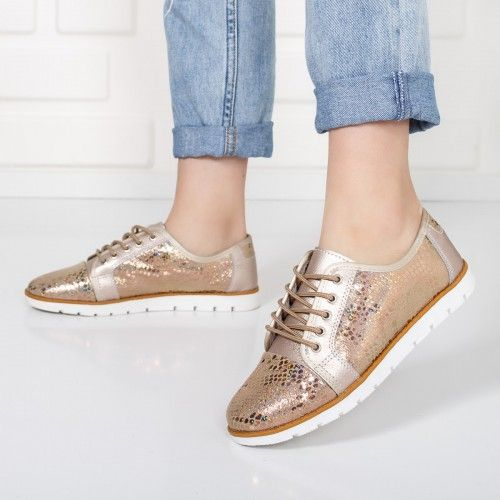 Pantofi dama Piele Ivanka rose gold casual