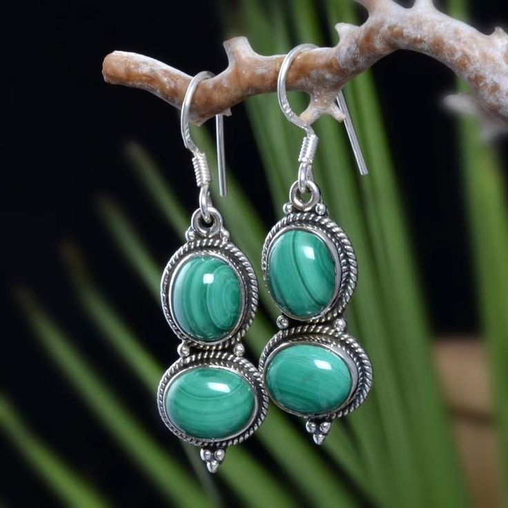 "925 SOLID STERLING SILVER MALACHITE FANCY EARRING 8.75g DJER4022 L-1.70""…"