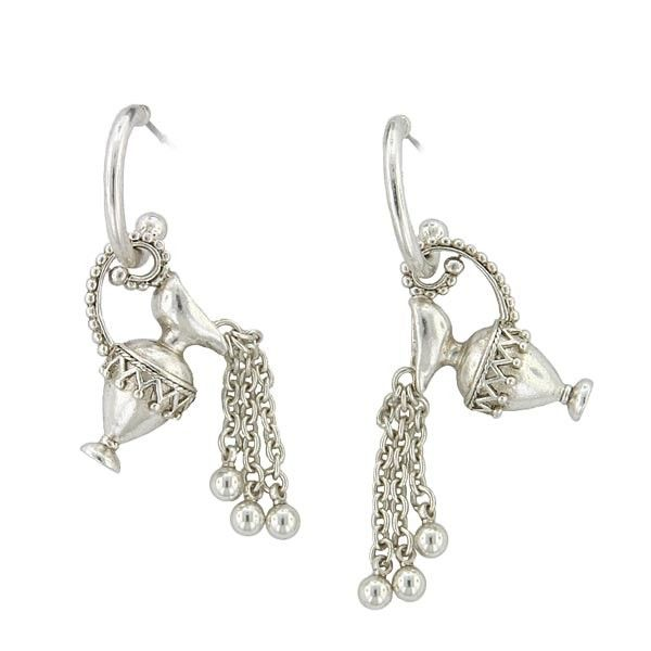 A unique rendition of an ewer (a large jug, which was originally used for carrying water for someone to wash in) made into drop earrings. From our Antiquities Couture collection. The perfect gift for vintage lovers!