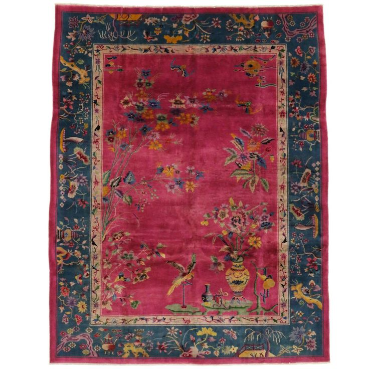 Early 20th Century Antique Chinese Art Deco Rug   See more antique and modern Chinese and East Asian Rugs at https://www.1stdibs.com/furniture/rugs-carpets/chinese-rugs