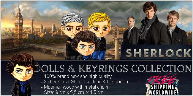 BBC Sherlock keyring doll Benedict Cumberbatch Martin Freeman