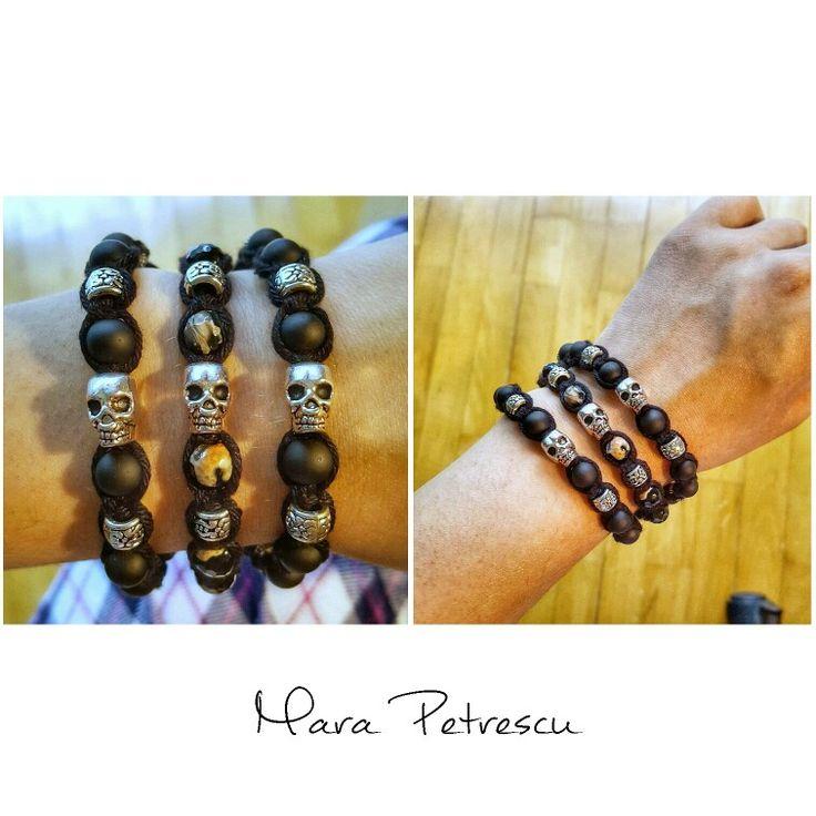 The classic black shamballa bracelets with skull