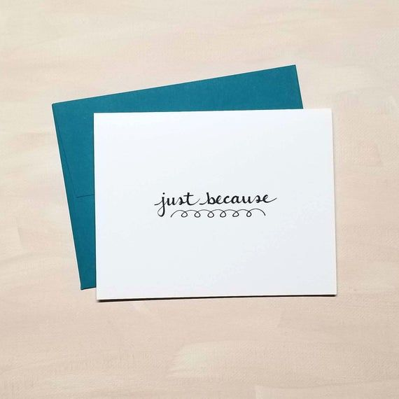Just Because Card Doodle Script Any Occasion Cards Etsy Cards Custom Notepad Personalized Note Cards